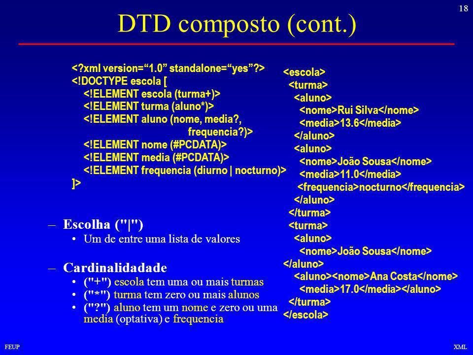 18 FEUPXML DTD composto (cont.) Rui Silva 13.6 João Sousa 11.0 nocturno João Sousa Ana Costa 17.0 <!DOCTYPE escola [ <!ELEMENT aluno (nome, media , frequencia )> ]> –Escolha ( | ) Um de entre uma lista de valores –Cardinalidadade ( + ) escola tem uma ou mais turmas ( * ) turma tem zero ou mais alunos ( ) aluno tem um nome e zero ou uma media (optativa) e frequencia