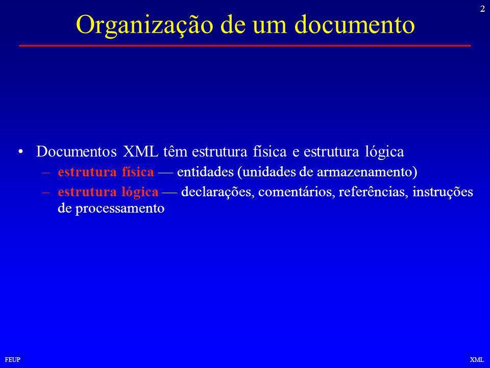 2 FEUPXML Organização de um documento Documentos XML têm estrutura física e estrutura lógica –estrutura física entidades (unidades de armazenamento) –estrutura lógica declarações, comentários, referências, instruções de processamento
