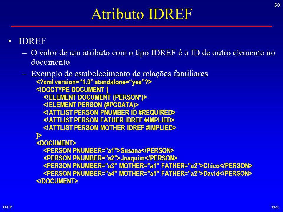 30 FEUPXML Atributo IDREF IDREF –O valor de um atributo com o tipo IDREF é o ID de outro elemento no documento –Exemplo de estabelecimento de relações familiares <!DOCTYPE DOCUMENT [ ]> Susana Joaquim Chico David