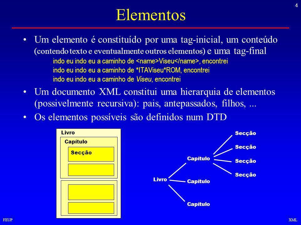 4 FEUPXML Elementos Um elemento é constituído por uma tag-inicial, um conteúdo (contendo texto e eventualmente outros elementos) e uma tag-final indo eu indo eu a caminho de Viseu, encontrei indo eu indo eu a caminho de *ITAViseu*ROM, encontrei indo eu indo eu a caminho de Viseu, encontrei Um documento XML constitui uma hierarquia de elementos (possivelmente recursiva): pais, antepassados, filhos,...