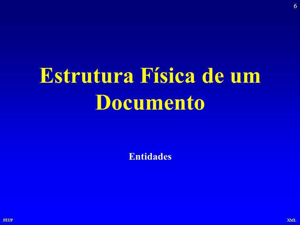 6 FEUPXML Estrutura Física de um Documento Entidades