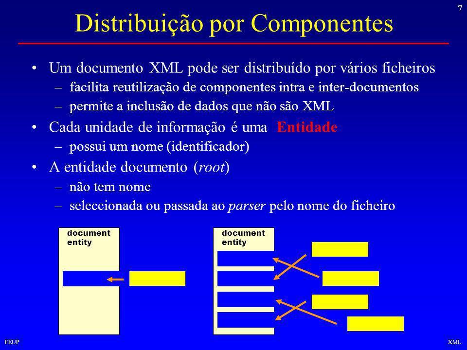 7 FEUPXML Distribuição por Componentes Um documento XML pode ser distribuído por vários ficheiros –facilita reutilização de componentes intra e inter-documentos –permite a inclusão de dados que não são XML Cada unidade de informação é uma Entidade –possui um nome (identificador) A entidade documento (root) –não tem nome –seleccionada ou passada ao parser pelo nome do ficheiro document entity
