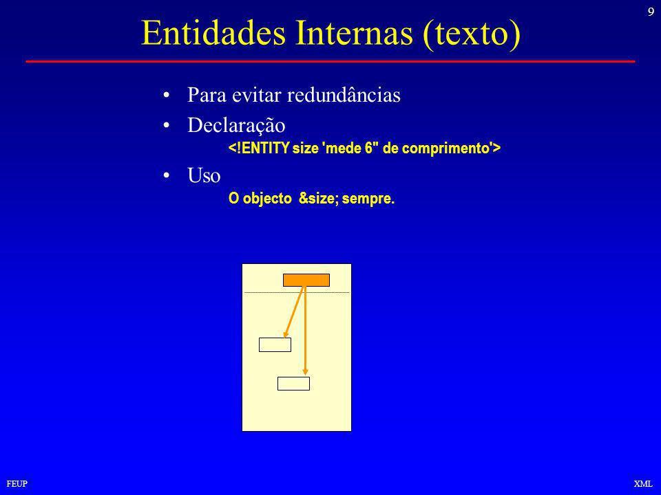 9 FEUPXML Entidades Internas (texto) Para evitar redundâncias Declaração Uso O objecto &size; sempre.