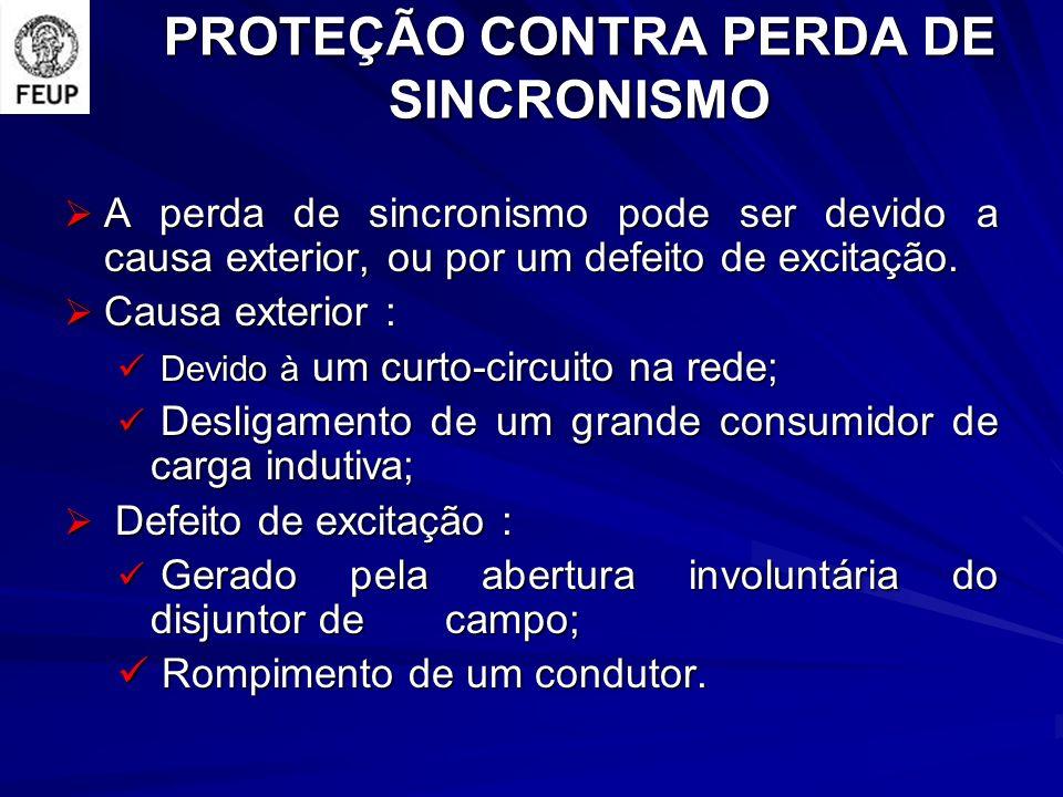 PROTEÇÃO CONTRA PERDA DE SINCRONISMO A perda de sincronismo pode ser devido a causa exterior, ou por um defeito de excitação.