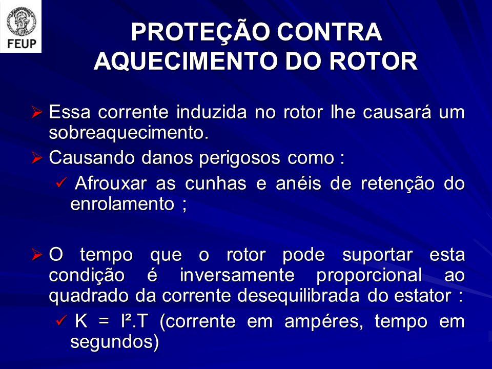 PROTEÇÃO CONTRA AQUECIMENTO DO ROTOR Essa corrente induzida no rotor lhe causará um sobreaquecimento.