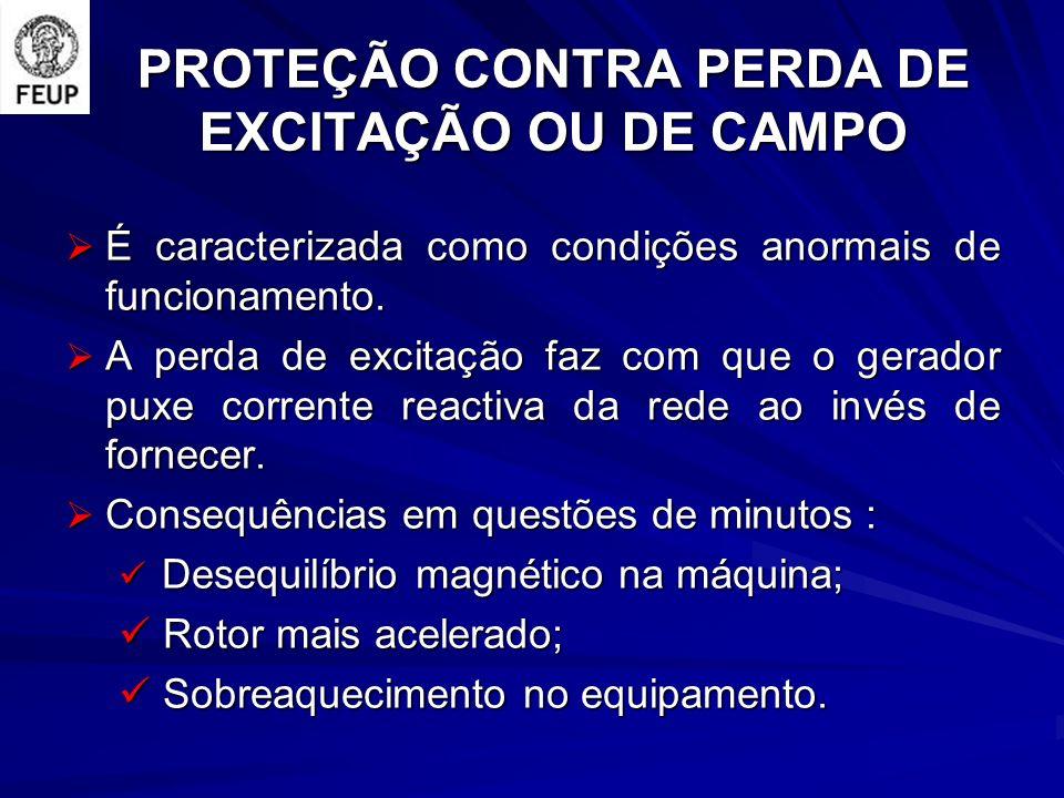 PROTEÇÃO CONTRA PERDA DE EXCITAÇÃO OU DE CAMPO É caracterizada como condições anormais de funcionamento. É caracterizada como condições anormais de fu
