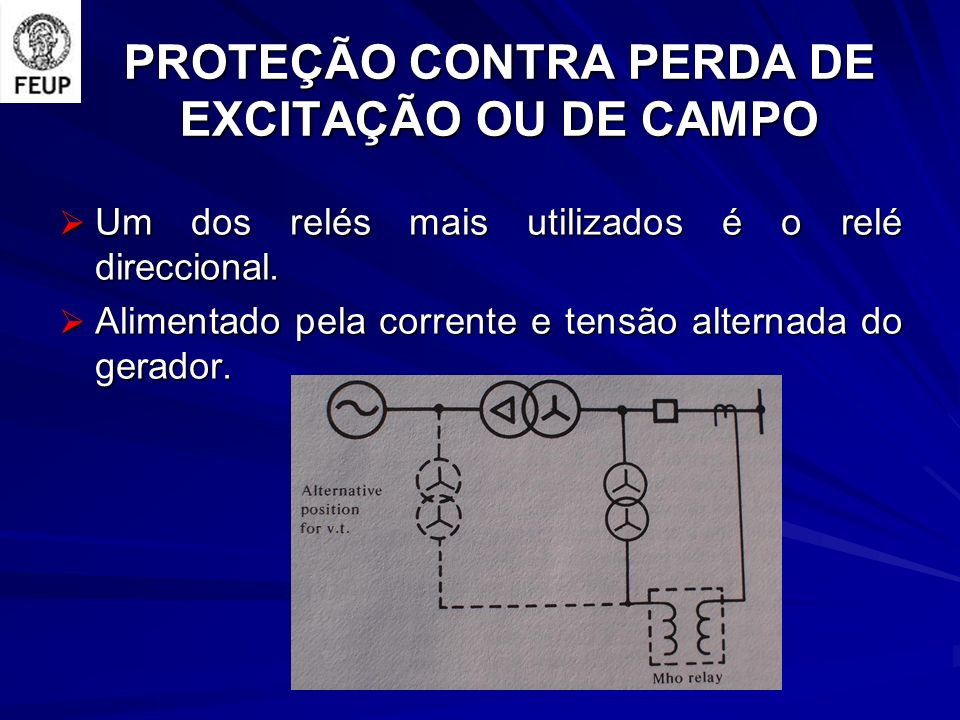 PROTEÇÃO CONTRA PERDA DE EXCITAÇÃO OU DE CAMPO Um dos relés mais utilizados é o relé direccional. Um dos relés mais utilizados é o relé direccional. A