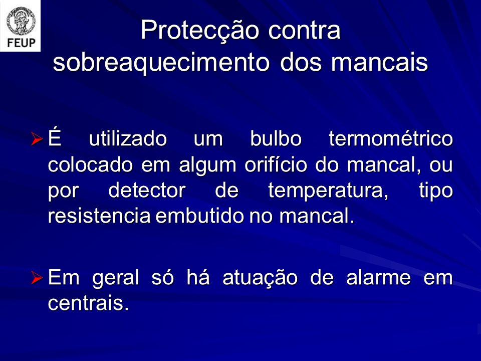 Protecção contra sobreaquecimento dos mancais É utilizado um bulbo termométrico colocado em algum orifício do mancal, ou por detector de temperatura,