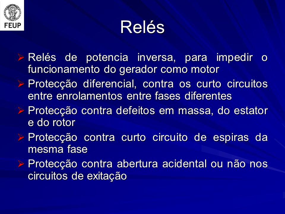 Relés Relés de potencia inversa, para impedir o funcionamento do gerador como motor Relés de potencia inversa, para impedir o funcionamento do gerador