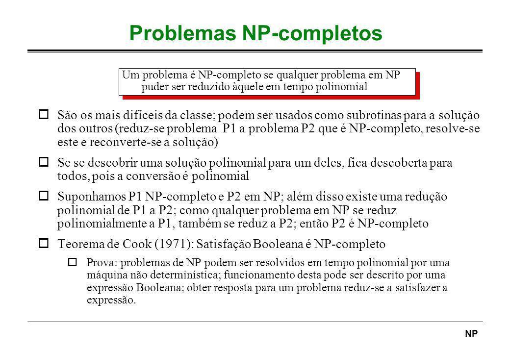 NP Problemas NP-completos oSão os mais difíceis da classe; podem ser usados como subrotinas para a solução dos outros (reduz-se problema P1 a problema