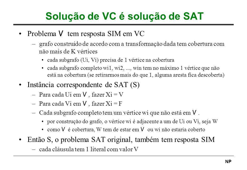 NP Solução de VC é solução de SAT Problema V tem resposta SIM em VC –grafo construído de acordo com a transformação dada tem cobertura com não mais de