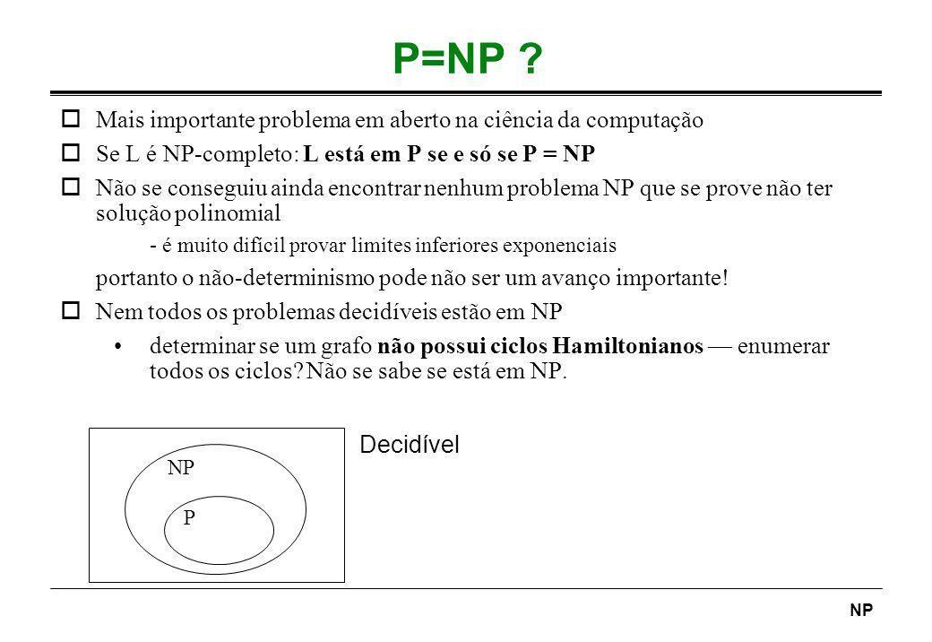 NP P=NP ? P NP oMais importante problema em aberto na ciência da computação oSe L é NP-completo: L está em P se e só se P = NP oNão se conseguiu ainda