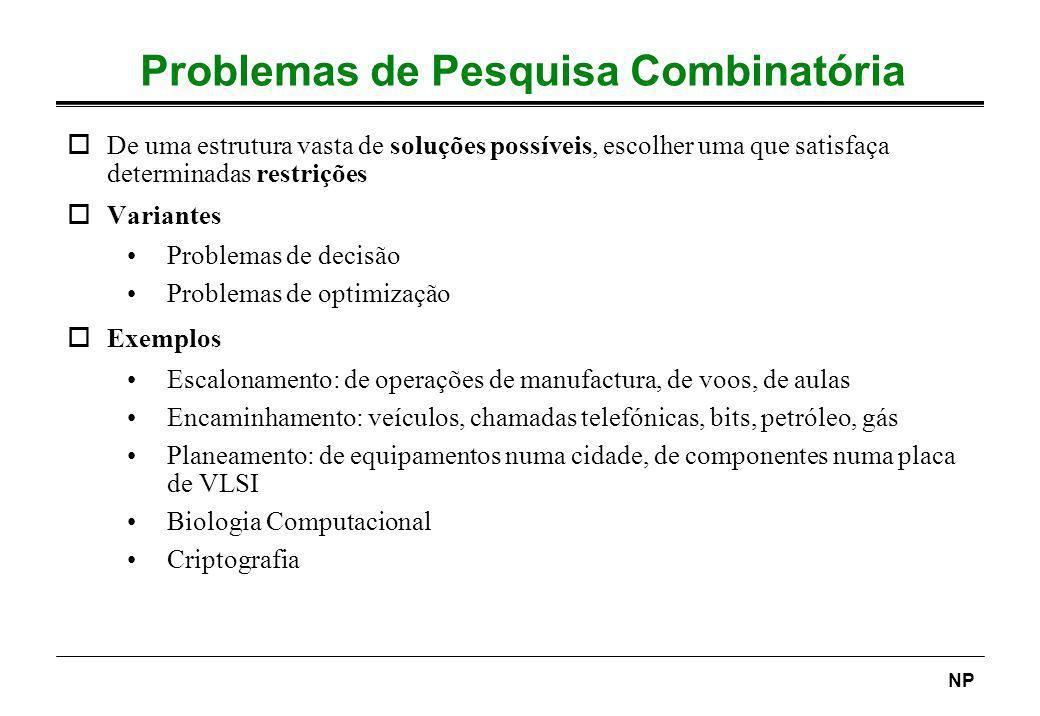 NP Problemas de Pesquisa Combinatória oDe uma estrutura vasta de soluções possíveis, escolher uma que satisfaça determinadas restrições oVariantes Pro