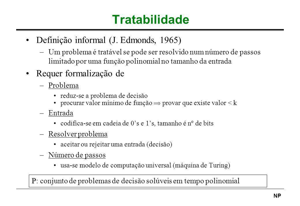 NP Tratabilidade Definição informal (J. Edmonds, 1965) –Um problema é tratável se pode ser resolvido num número de passos limitado por uma função poli