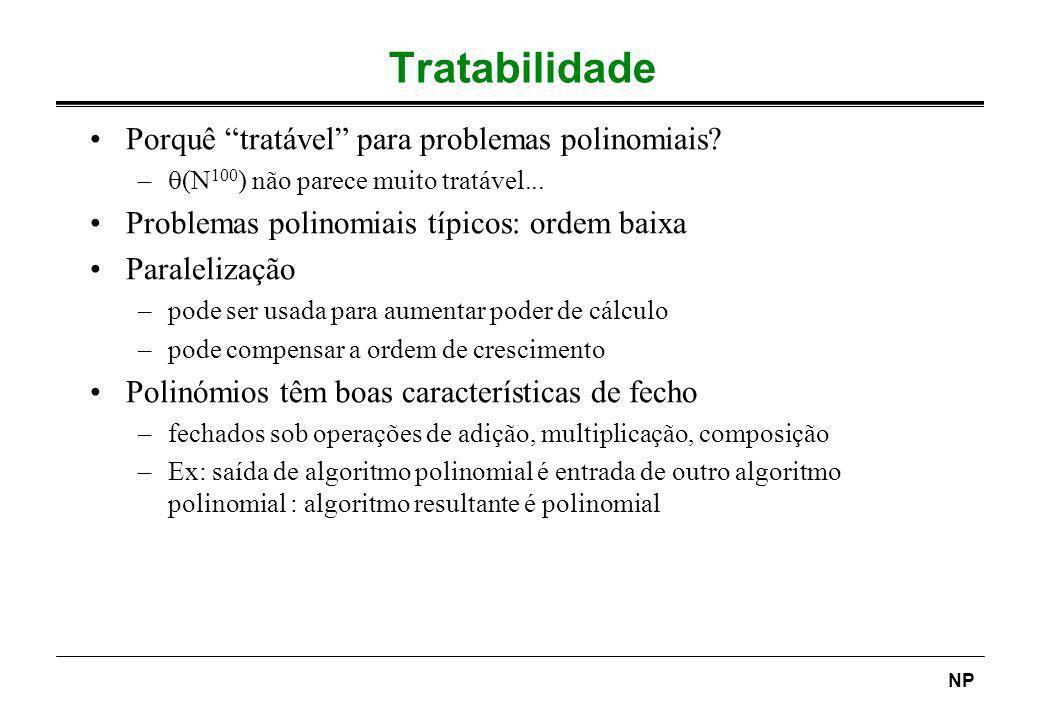 NP Tratabilidade Porquê tratável para problemas polinomiais? – (N 100 ) não parece muito tratável... Problemas polinomiais típicos: ordem baixa Parale