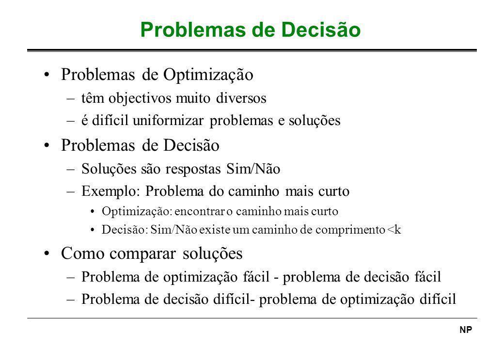NP Problemas de Decisão Problemas de Optimização –têm objectivos muito diversos –é difícil uniformizar problemas e soluções Problemas de Decisão –Solu