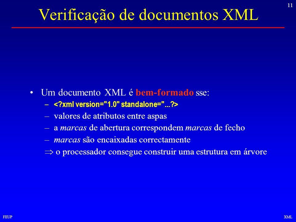 11 FEUPXML Verificação de documentos XML Um documento XML é bem-formado sse: – –valores de atributos entre aspas –a marcas de abertura correspondem ma