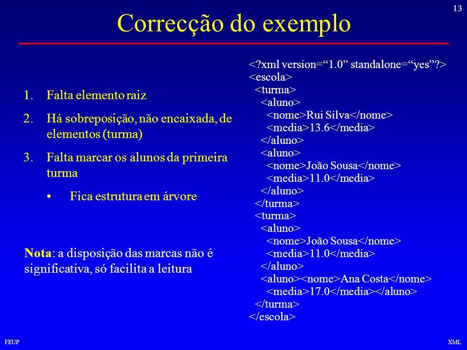 13 FEUPXML Correcção do exemplo Rui Silva 13.6 João Sousa 11.0 João Sousa 11.0 Ana Costa 17.0 1.Falta elemento raiz 2.Há sobreposição, não encaixada,