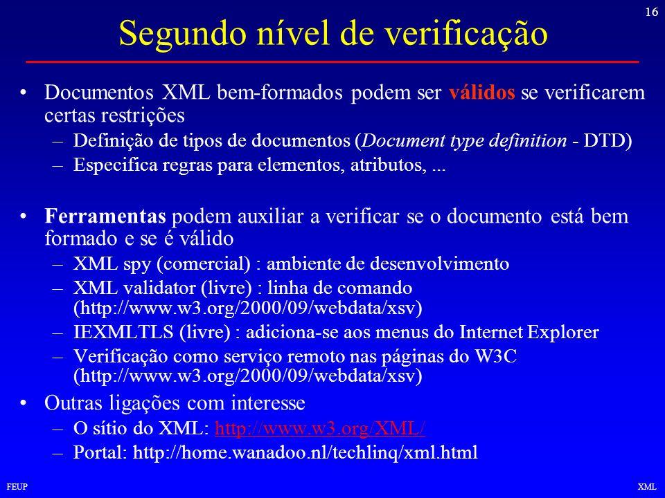 16 FEUPXML Segundo nível de verificação Documentos XML bem-formados podem ser válidos se verificarem certas restrições –Definição de tipos de document