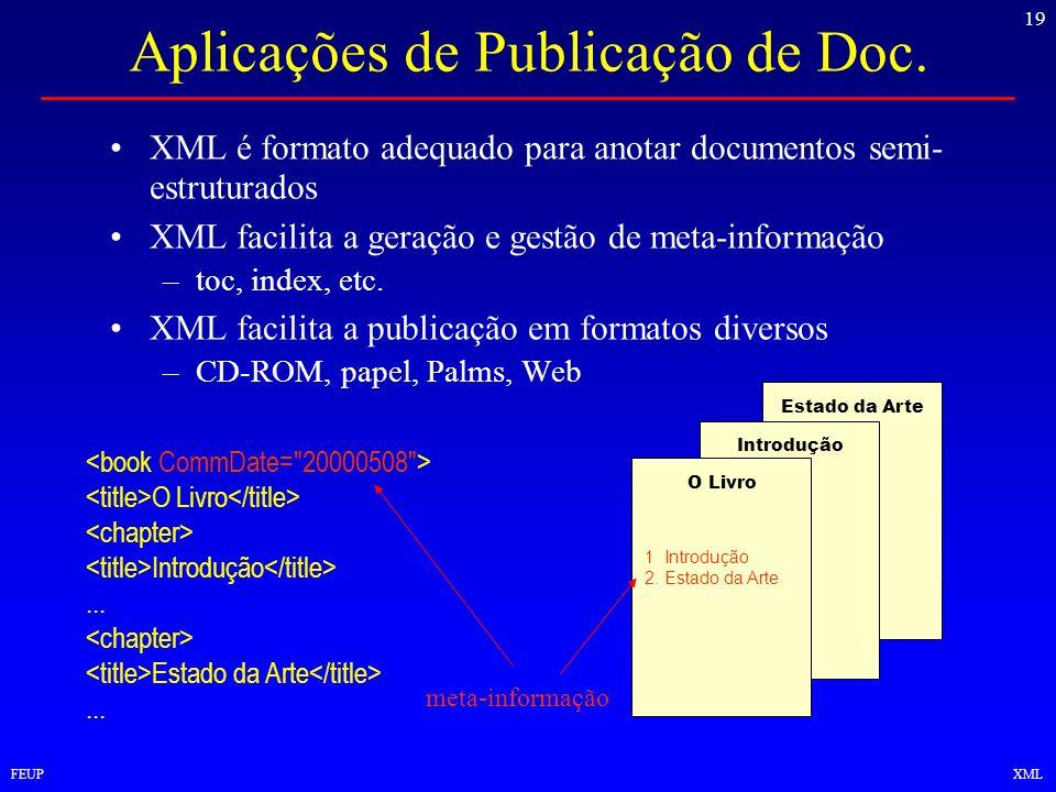 19 FEUPXML Aplicações de Publicação de Doc. XML é formato adequado para anotar documentos semi- estruturados XML facilita a geração e gestão de meta-i