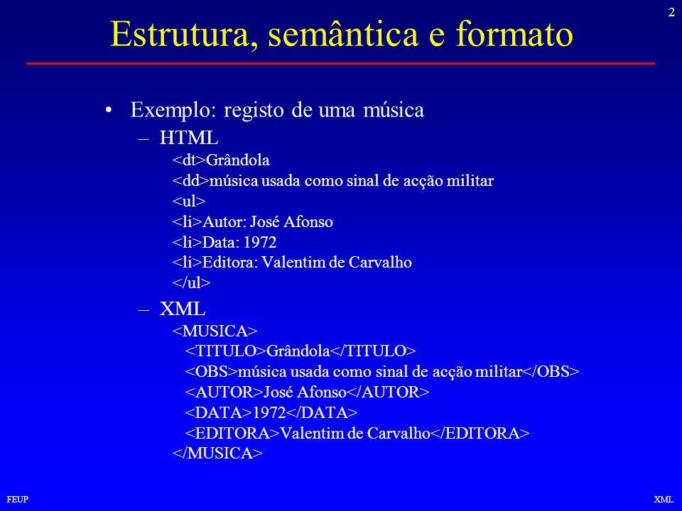 2 FEUPXML Estrutura, semântica e formato Exemplo: registo de uma música –HTML Grândola música usada como sinal de acção militar Autor: José Afonso Dat