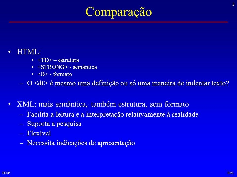 3 FEUPXML Comparação HTML: – estrutura - semântica - formato –O é mesmo uma definição ou só uma maneira de indentar texto? XML: mais semântica, também