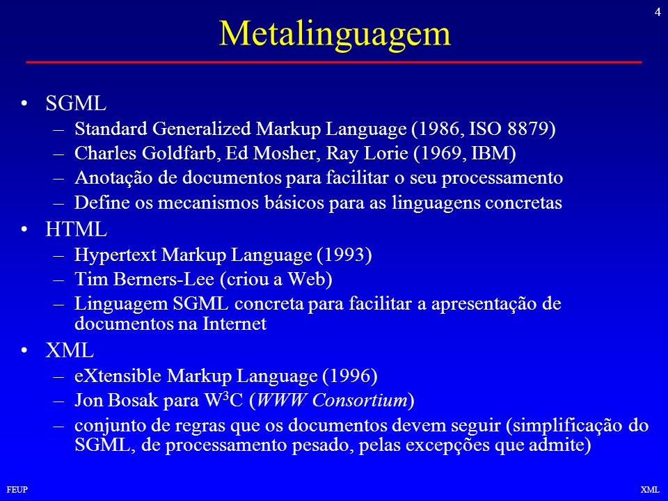4 FEUPXML Metalinguagem SGML –Standard Generalized Markup Language (1986, ISO 8879) –Charles Goldfarb, Ed Mosher, Ray Lorie (1969, IBM) –Anotação de d