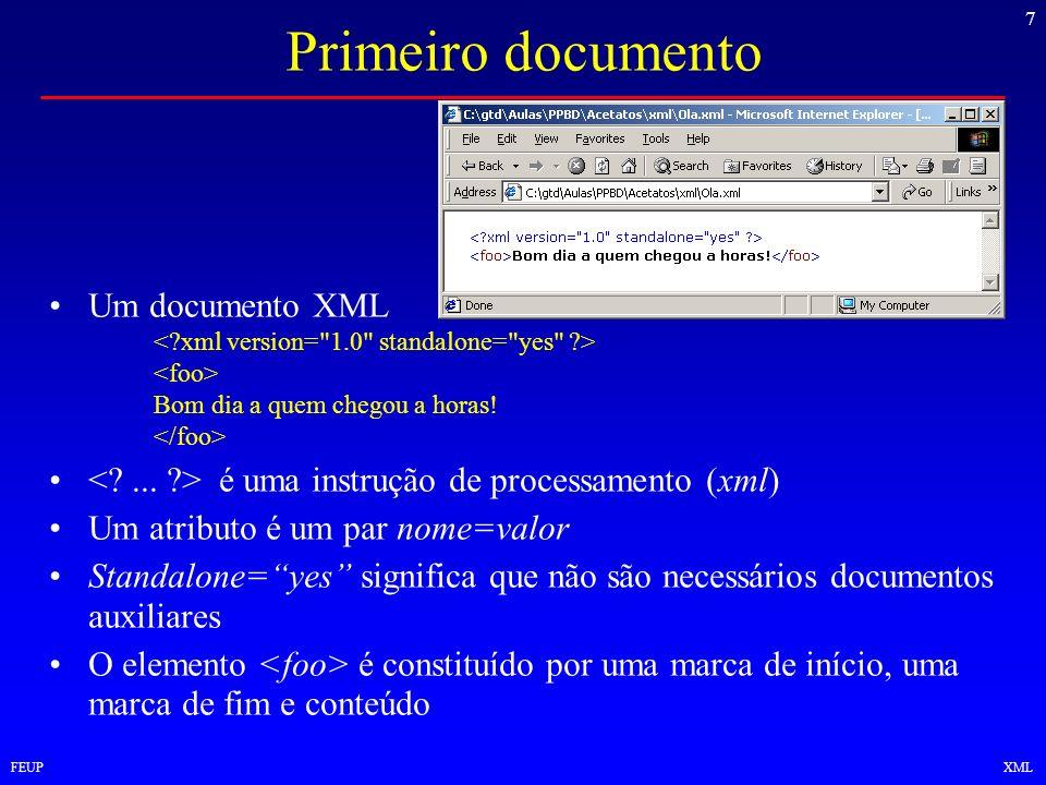 7 FEUPXML Primeiro documento Um documento XML Bom dia a quem chegou a horas! é uma instrução de processamento (xml) Um atributo é um par nome=valor St
