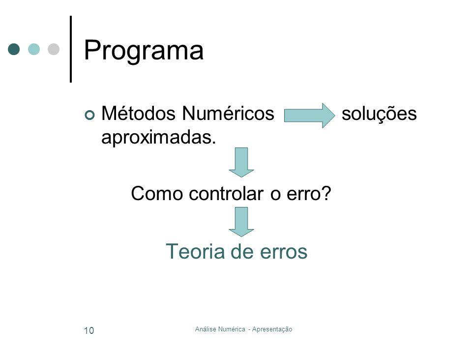Análise Numérica - Apresentação 10 Programa Métodos Numéricos soluções aproximadas. Como controlar o erro? Teoria de erros