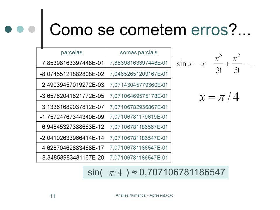 Análise Numérica - Apresentação 11 Como se cometem erros?... sin( ) 0,707106781186547 parcelassomas parciais 7,85398163397448E-01 -8,07455121882808E-0