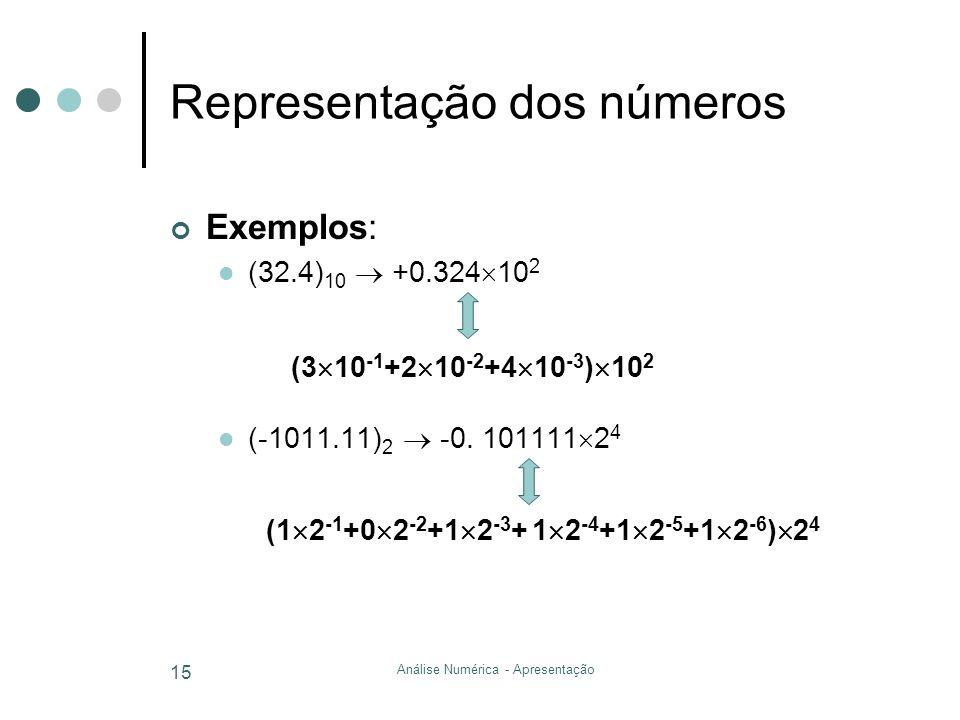 Análise Numérica - Apresentação 15 Representação dos números Exemplos: (32.4) 10 +0.324 10 2 (3 10 -1 +2 10 -2 +4 10 -3 ) 10 2 (-1011.11) 2 -0. 101111