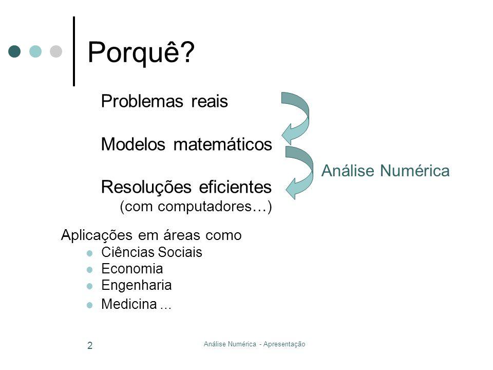 Análise Numérica - Apresentação 2 Porquê? Problemas reais Modelos matemáticos Resoluções eficientes (com computadores…) Aplicações em áreas como Ciênc