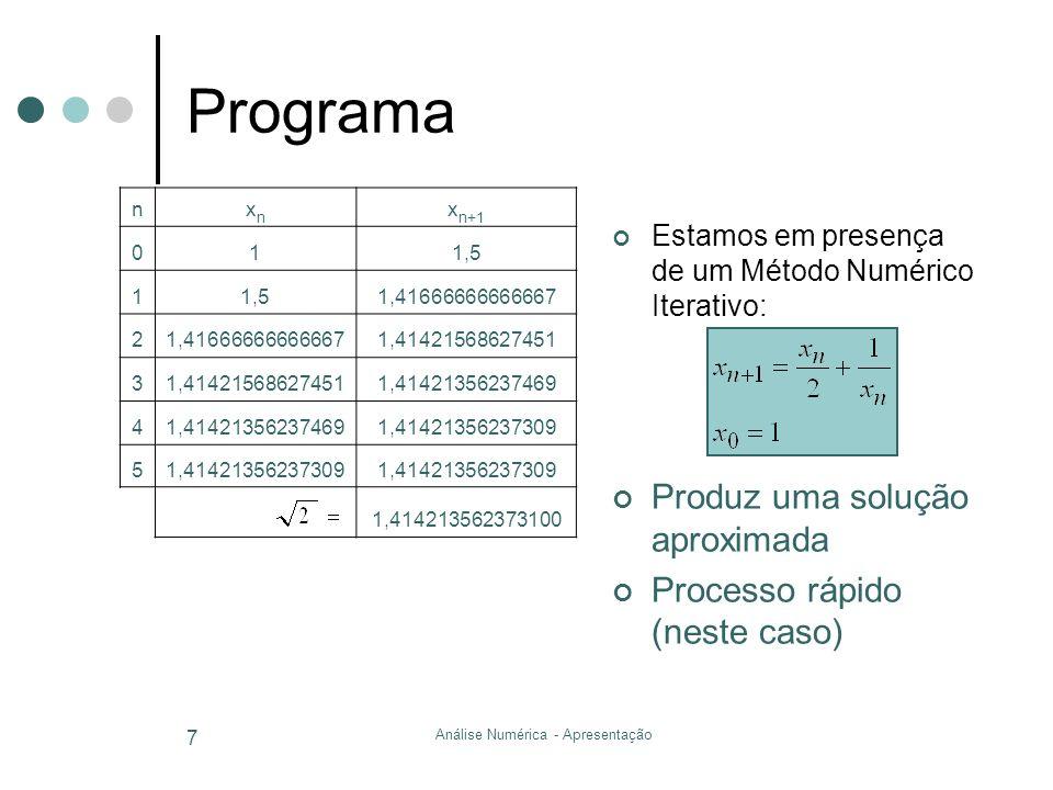 Análise Numérica - Apresentação 7 Programa Estamos em presença de um Método Numérico Iterativo: Produz uma solução aproximada Processo rápido (neste c