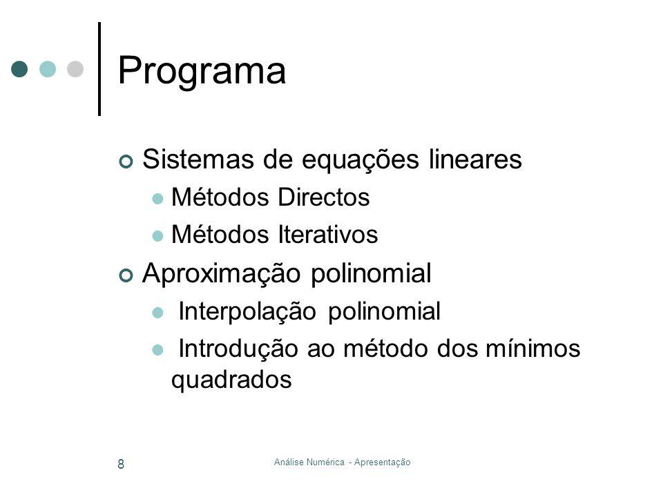 Análise Numérica - Apresentação 8 Programa Sistemas de equações lineares Métodos Directos Métodos Iterativos Aproximação polinomial Interpolação polin