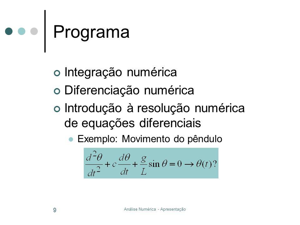 Análise Numérica - Apresentação 9 Programa Integração numérica Diferenciação numérica Introdução à resolução numérica de equações diferenciais Exemplo