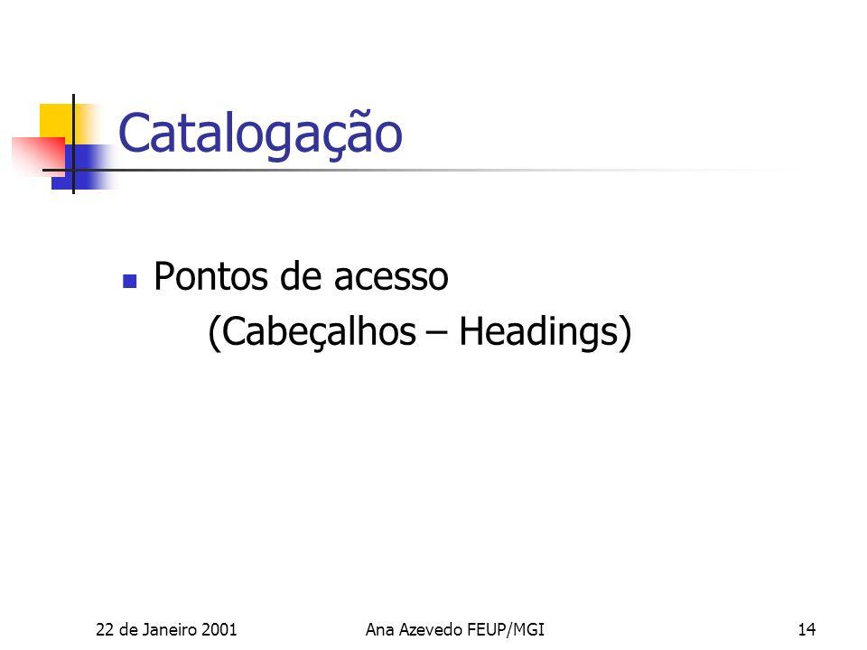 22 de Janeiro 2001Ana Azevedo FEUP/MGI14 Catalogação Pontos de acesso (Cabeçalhos – Headings)