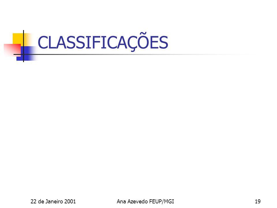 22 de Janeiro 2001Ana Azevedo FEUP/MGI19 CLASSIFICAÇÕES
