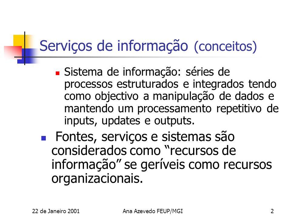 22 de Janeiro 2001Ana Azevedo FEUP/MGI2 Serviços de informação (conceitos) Sistema de informação: séries de processos estruturados e integrados tendo como objectivo a manipulação de dados e mantendo um processamento repetitivo de inputs, updates e outputs.