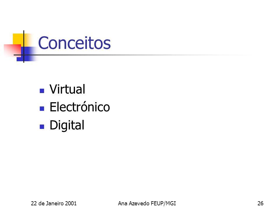 22 de Janeiro 2001Ana Azevedo FEUP/MGI26 Conceitos Virtual Electrónico Digital