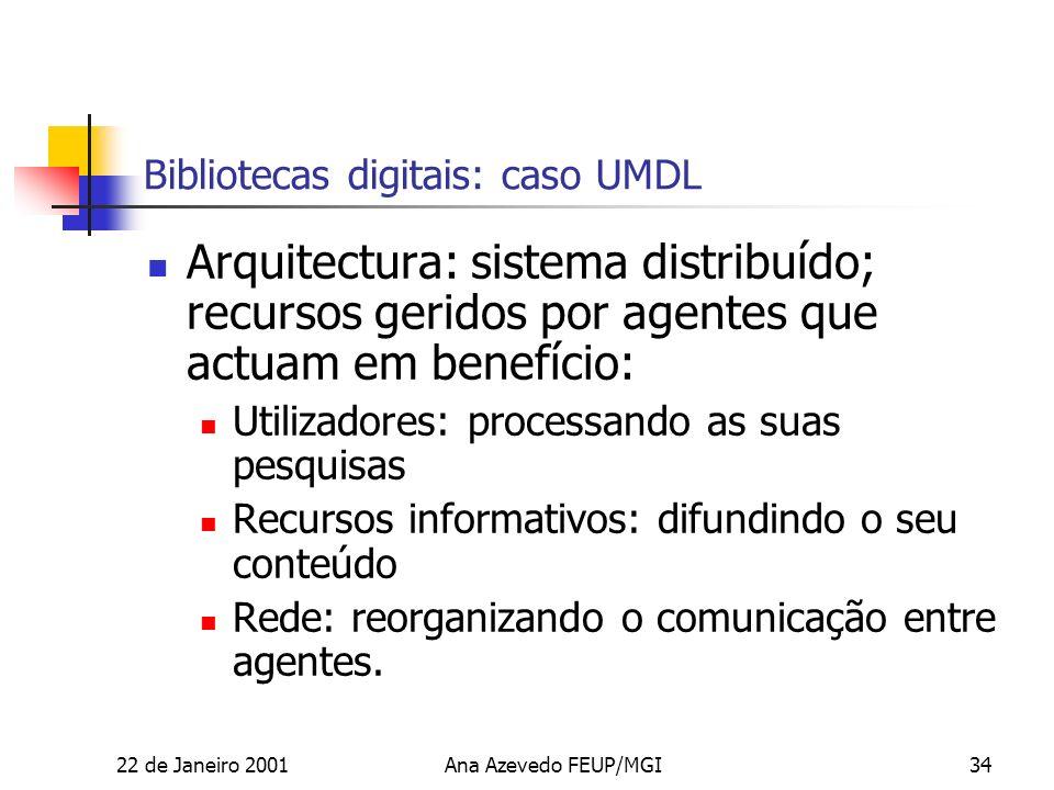 22 de Janeiro 2001Ana Azevedo FEUP/MGI34 Bibliotecas digitais: caso UMDL Arquitectura: sistema distribuído; recursos geridos por agentes que actuam em benefício: Utilizadores: processando as suas pesquisas Recursos informativos: difundindo o seu conteúdo Rede: reorganizando o comunicação entre agentes.