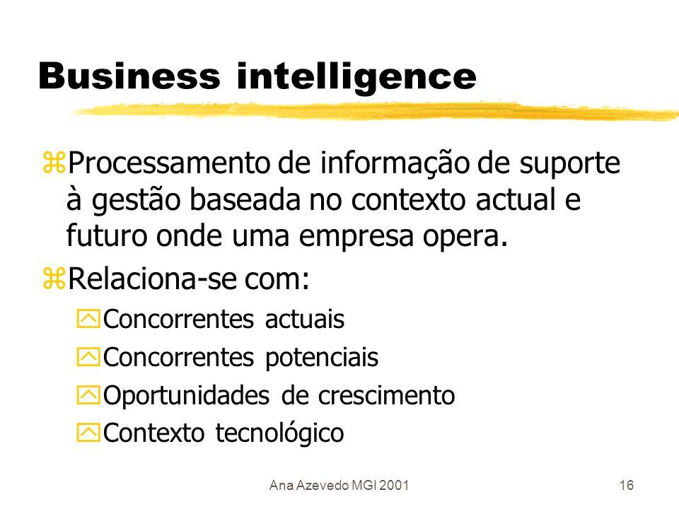 Ana Azevedo MGI 200117 Business intelligence yRegulamentações políticas e ambientais yMercados yContexto económico yContexto social e cultural yDados demográficos yFornecedores yCompradores