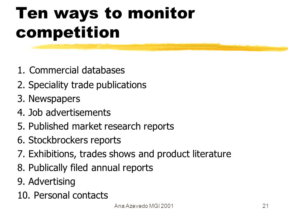 Ana Azevedo MGI 200121 Ten ways to monitor competition 1.