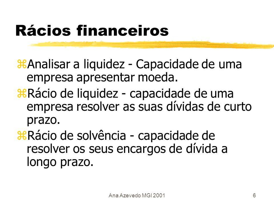 Ana Azevedo MGI 20017 Conceitos zActivo corrente (Current assets / Working capital) Bens líquidos, stocks de matérias primas, produtos acabados, contas a receber.