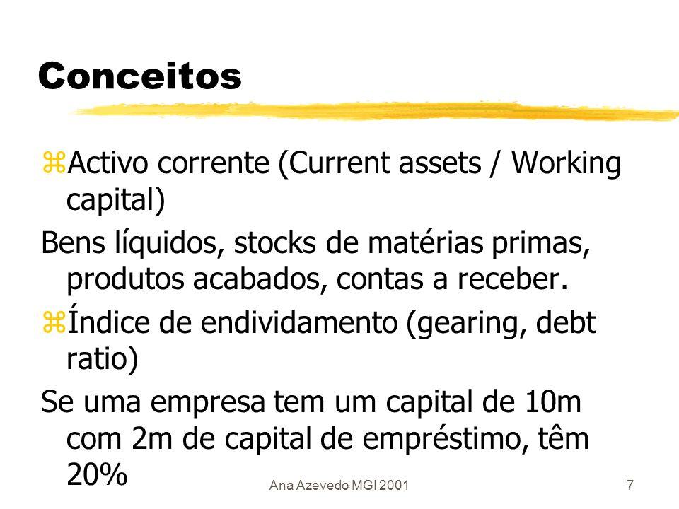 Ana Azevedo MGI 20018 Rácios de liquidez zCurrent ratio = Activo corrente Current assets Exigível a curto prazo Current liabilities Acima 1 zThe acid test / Quick ratio Current assets - stock Current liabilities Acima 1,5