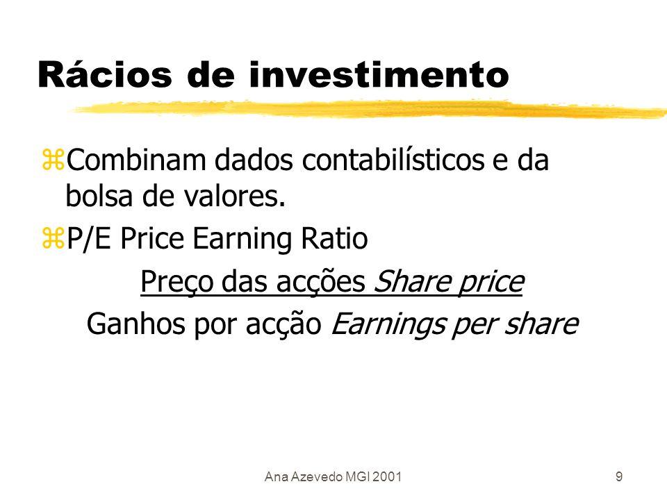 Ana Azevedo MGI 200110 Rácios contabilísticos zMargem de lucro Profit Margem= Lucro ilíquido X 100 Movimento de vendas Turnover zActivo de vendas = Movimento de vendas Capital investido