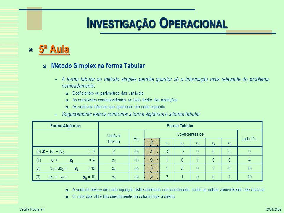 Cecília Rocha # 12001/2002 I NVESTIGAÇÃO O PERACIONAL 5ª Aula 5ª Aula Método Simplex na forma Tabular A forma tabular do método simplex permite guarda