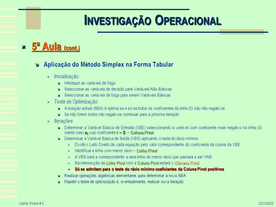 Cecília Rocha # 22001/2002 I NVESTIGAÇÃO O PERACIONAL 5ª Aula (cont.) 5ª Aula (cont.) Aplicação do Método Simplex na Forma Tabular Inicialização Intro