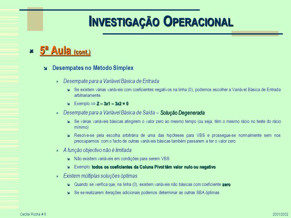 Cecília Rocha # 52001/2002 I NVESTIGAÇÃO O PERACIONAL 5ª Aula (cont.) 5ª Aula (cont.) Desempates no Método Simplex Desempate para a Variável Básica de