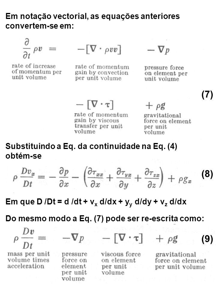 Em notação vectorial, as equações anteriores convertem-se em: Substituindo a Eq. da continuidade na Eq. (4) obtém-se Em que D /Dt = d /dt + v x d/dx +
