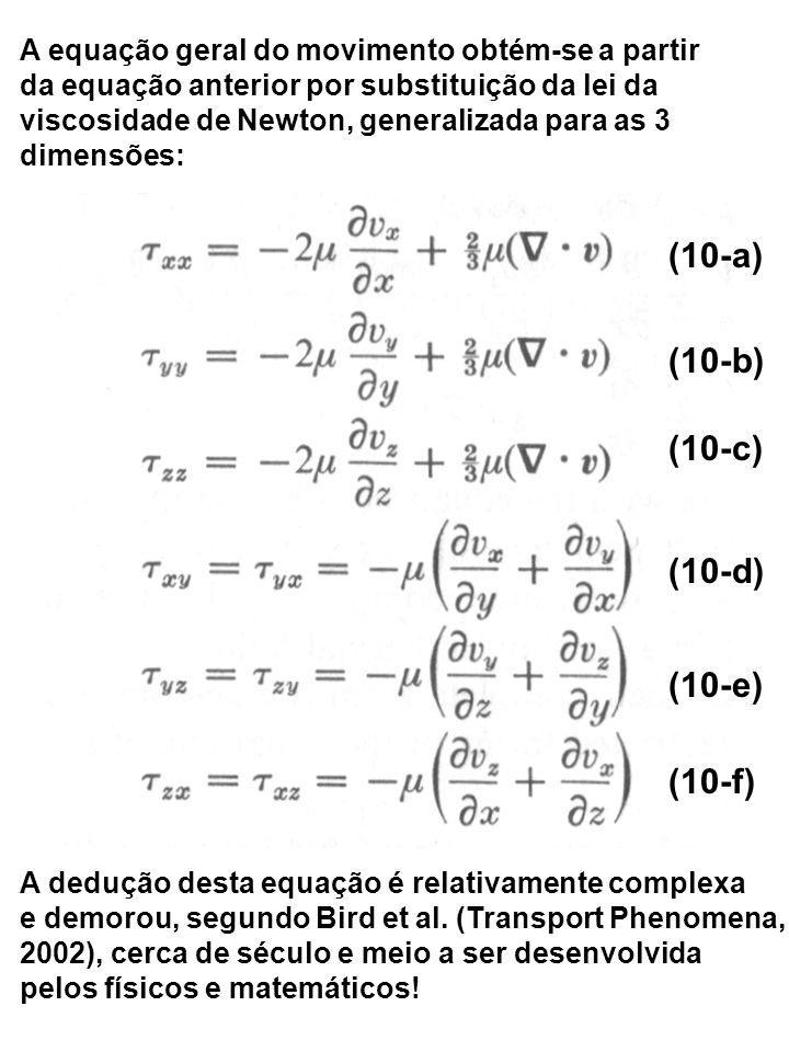 A equação geral do movimento obtém-se a partir da equação anterior por substituição da lei da viscosidade de Newton, generalizada para as 3 dimensões:
